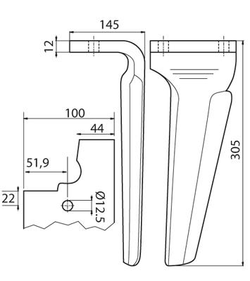 Coltello per erpice - Compatibile con FERABOLI - TRAT5530