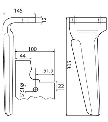Coltello per erpice - Compatibile con FERABOLI - TRAT5531