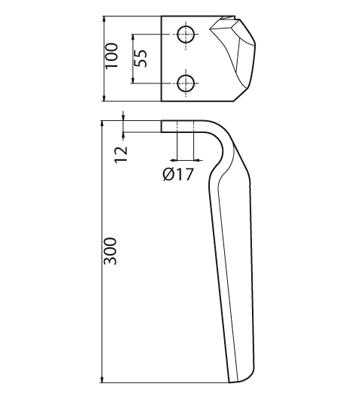 Coltello per erpice - Compatibile con FRANDENT - TRAT5555