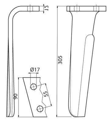 Coltello per erpice - Compatibile con FRANDENT - TRAT5560