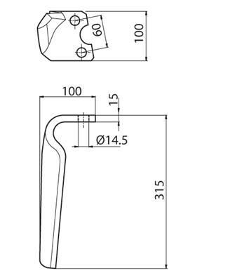 Coltello per erpice - Compatibile con HOWARD | ROTAVAROT - TRAT5826