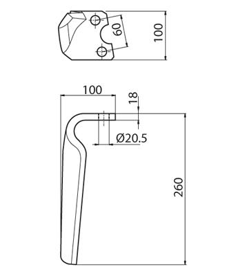 Coltello per erpice - Compatibile con KRONE - TRAT5887