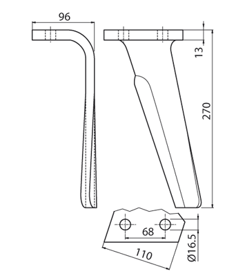 Coltello per erpice - Compatibile con KUHN - TRAT6026