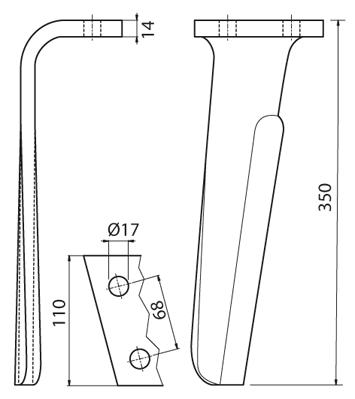 Coltello per erpice - Compatibile con KUHN - TRAT6040