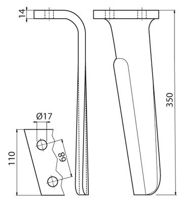 Coltello per erpice - Compatibile con KUHN - TRAT6041