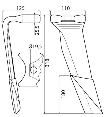 Coltello per erpice - Compatibile con KUHN - TRAT6054