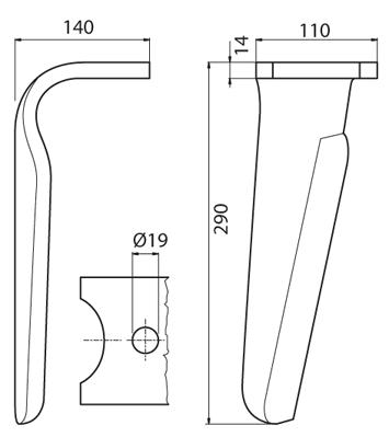 Coltello per erpice - Compatibile con KUHN - TRAT6058