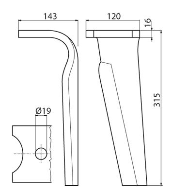 Coltello per erpice - Compatibile con KUHN - TRAT6060