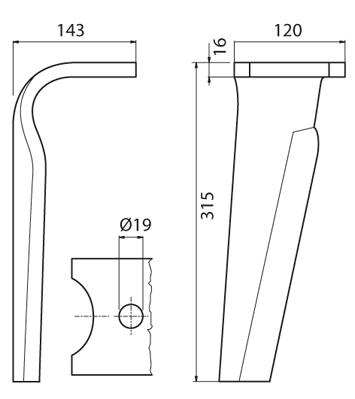 Coltello per erpice - Compatibile con KUHN - TRAT6062