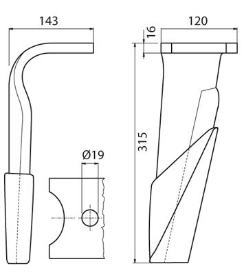 Coltello per erpice - Compatibile con KUHN - TRAT6063