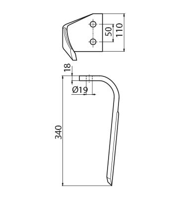 Coltello per erpice - Compatibile con SICMA (OSTRA VETERE) - TRAT6068