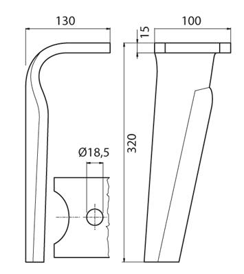 Coltello per erpice - Compatibile con KVERNELAND | MALETTI - TRAT6082