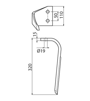 Coltello per erpice - Compatibile con KVERNELAND | MALETTI - TRAT6425
