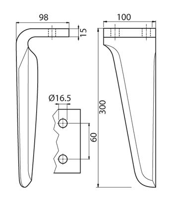 Coltello per erpice - Compatibile con MASCHIO - TRAT6501