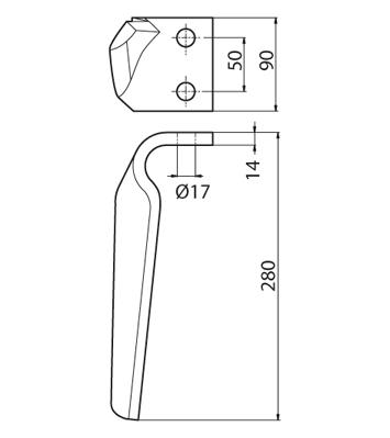Coltello per erpice - Compatibile con SICMA (OSTRA VETERE) - TRAT6502