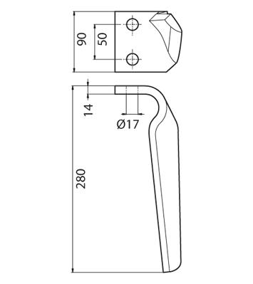 Coltello per erpice - Compatibile con MASCHIO - TRAT6503