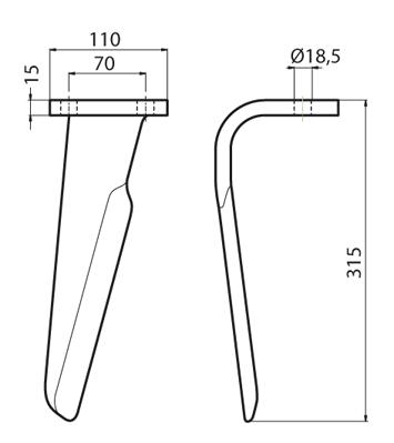 Coltello per erpice - Compatibile con MASCHIO - TRAT6511