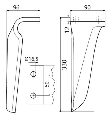 Coltello per erpice - Compatibile con MASCHIO - TRAT6516