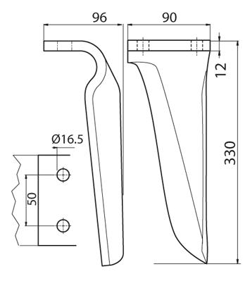 Coltello per erpice - Compatibile con MASCHIO - TRAT6517