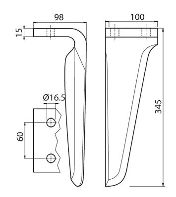 Coltello per erpice - Compatibile con MASCHIO - TRAT6518