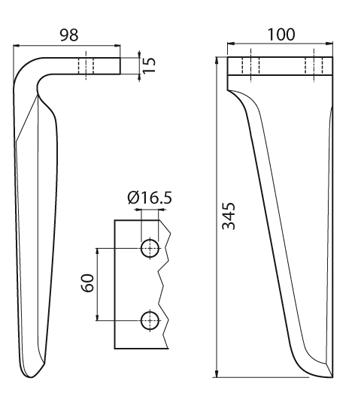 Coltello per erpice - Compatibile con MASCHIO - TRAT6519