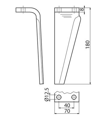 Coltello per erpice - Compatibile con MURATORI - TRAT6601