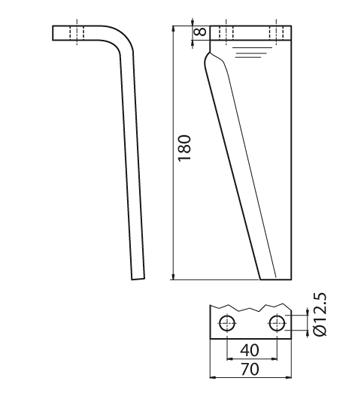 Coltello per erpice - Compatibile con MURATORI - TRAT6602