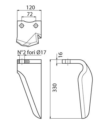 Coltello per erpice - Compatibile con NIEMEYER|VOGEL & NOOT - TRAT6689