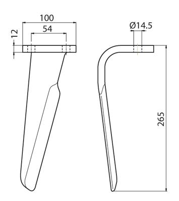 Coltello per erpice - Compatibile con PERUGINI CONCEPT - TRAT6943