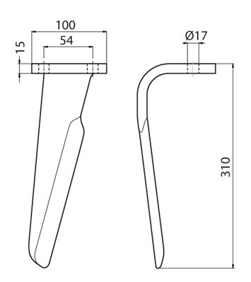 Coltello per erpice - Compatibile con PERUGINI CONCEPT - TRAT6944