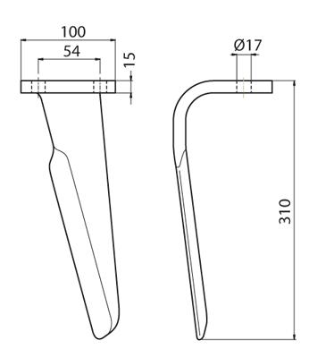 Coltello per erpice - Compatibile con PERUGINI CONCEPT - TRAT6945