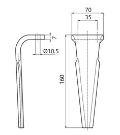 Coltello per erpice - Compatibile con PERUGINI CONCEPT - TRAT6973
