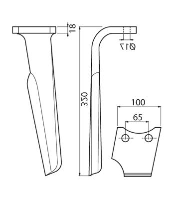 Coltello per erpice - Compatibile con RABEWERK - TRAT6981