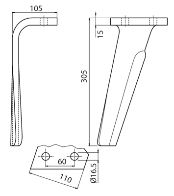 Coltello per erpice - Compatibile con RAU - TRAT7088