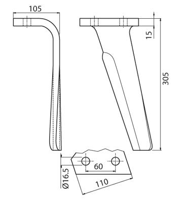 Coltello per erpice - Compatibile con RAU - TRAT7089