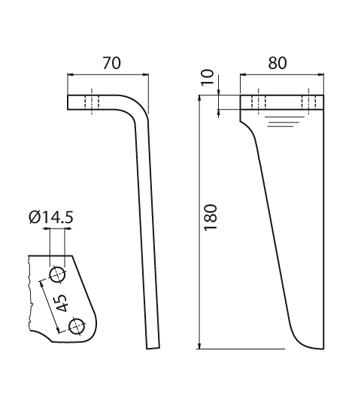 Coltello per erpice - Compatibile con RINIERI - TRAT7106