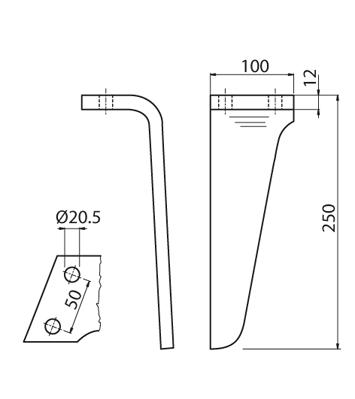 Coltello per erpice - Compatibile con RINIERI - TRAT7107