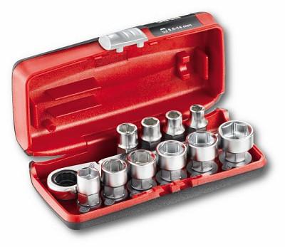 Assortimento bussole ribassate con cricchetto reversibile - mini kit (11 pz) - U06100001